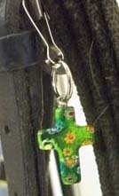Millefiori Glass Cross Charm