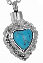 #104 MEMORIAL Turquoise Heart Necklace